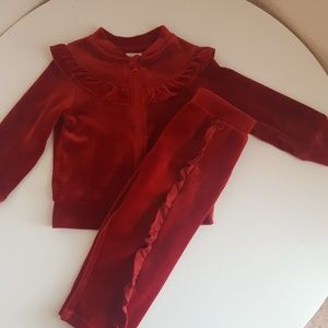 Baby girl red velour outfit-jogger